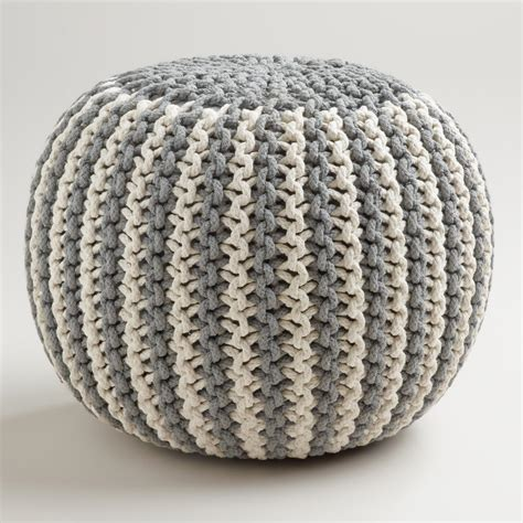 knitted poofs two tone knitted pouf world market