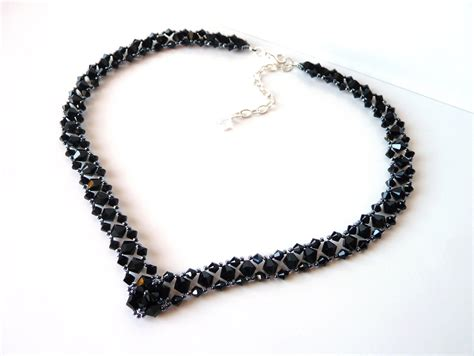 bead jewelry black beaded jewelry necklace prom jewelry by meljoycreations