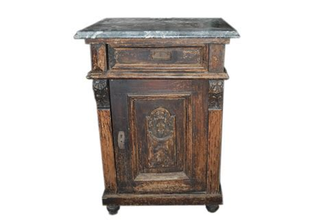Old German Marble Top Nightstand or End Table   Omero Home