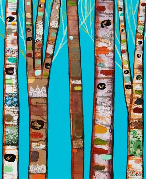 acrylic paint for fabric birch trees in turquoise by eli halpin with paint