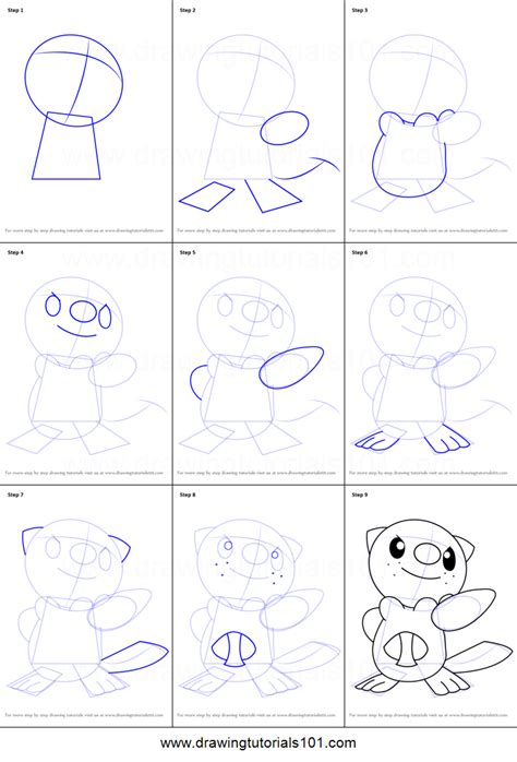 step by step how to draw oshawott from printable step by step