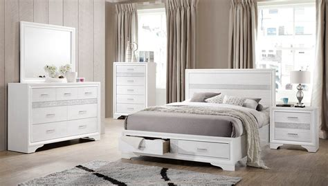 coaster furniture bedroom sets coaster miranda storage platform bedroom set white