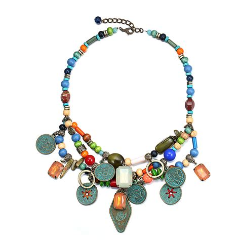 beaded choker necklace multilayer bead necklace ethnic choker necklaces