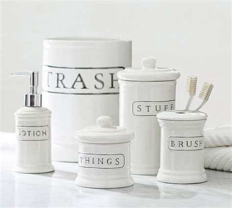 bathroom accessories ceramic ceramic text bath accessories pottery barn