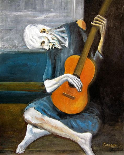 picasso replica paintings picasso s guitarist painting by leonardo ruggieri