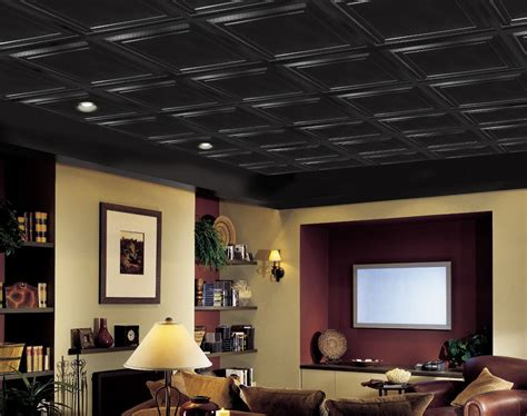 Basement Drop Ceiling Tiles by Shallow Coffer Black Easy Elegance Coffered Black 2 X 2