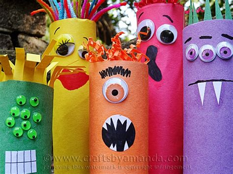 Toilet Paper You Monster by Cardboard Tube Craft Colorful Ghoul Family