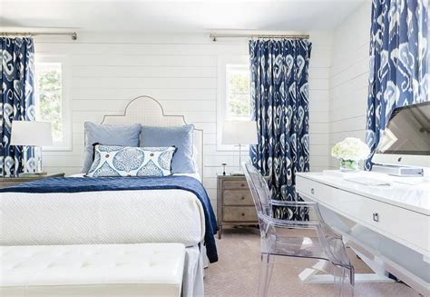 white and blue bedroom designs white and blue bedroom with ikat curtains transitional