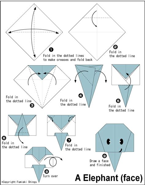 origami animals diagrams elephant easy origami for