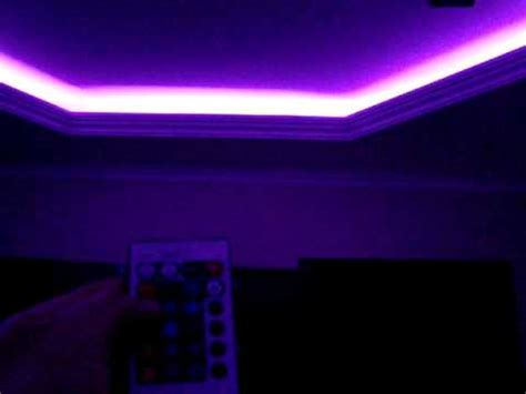 led light strips in room rgb led light instaled on the ceiling from my living