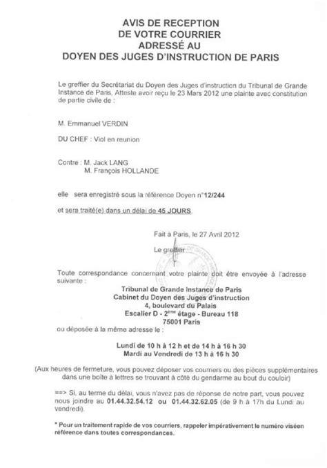 Modification Jugement Jaf by Affaire Verdin La Plainte Contre Lang Hollande Et