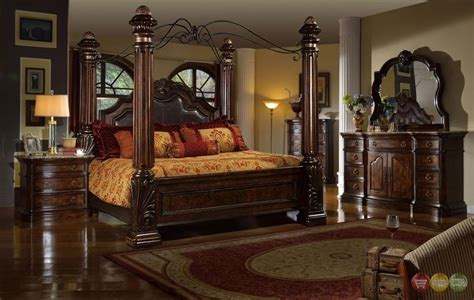 ebay bedroom furniture sets traditional poster canopy leather bed 5