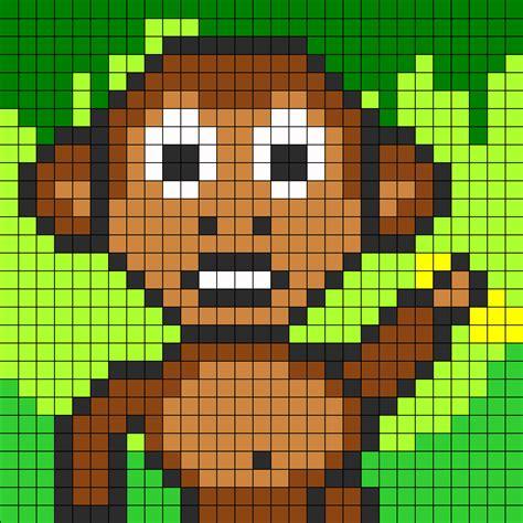 perler monkey pattern monkey with bannana perler bead pattern bead sprites