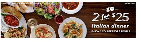 olive garden two 3 course meals for just 25