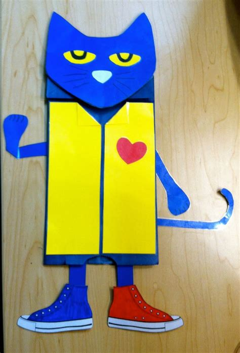 paper bag cat craft pete the cat paper bag puppet teaching classroom