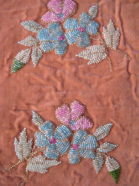 beaded velvet fabric antique beaded panel vintage fabric swatch textile