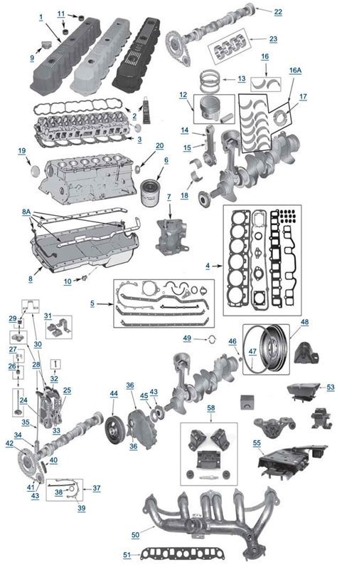 motor repair manual 1993 jeep wrangler electronic throttle control jeep yj wrangler 4 0l 6 cylinder engine parts ecm engine exploded view 4 wheel parts