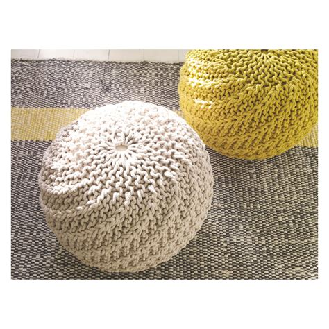knitted poufs uk knot yellow knitted pouf buy now at habitat uk