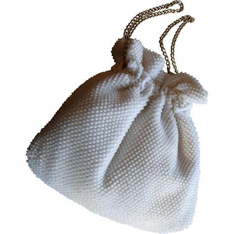 vintage beaded handbags vintage white beaded drawstring handbag purse from