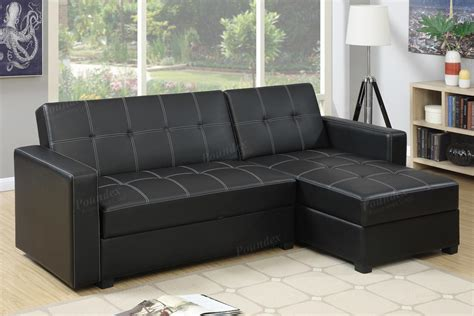 poundex amala f7894 black leather sectional sofa bed