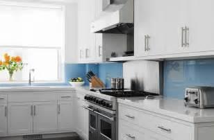 white and blue kitchen cabinets white quartz backsplash design ideas
