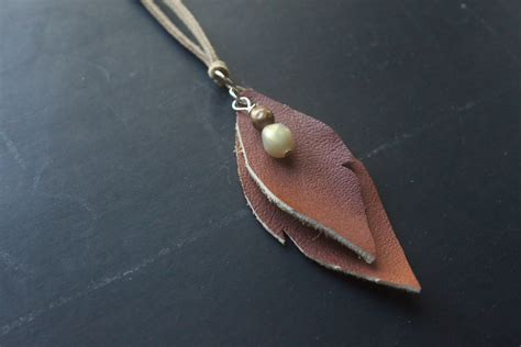 leather craft projects eat sleep make craft leather leaves necklace