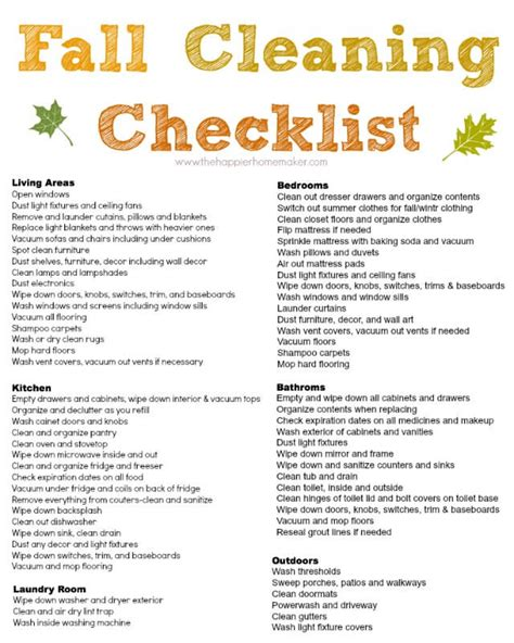 cleaning list free fall cleaning checklist and a my new lean