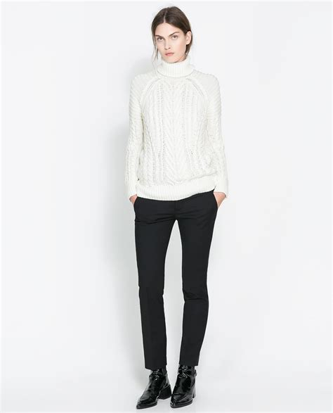 zara knitted sweater zara cable knit sweater in lyst