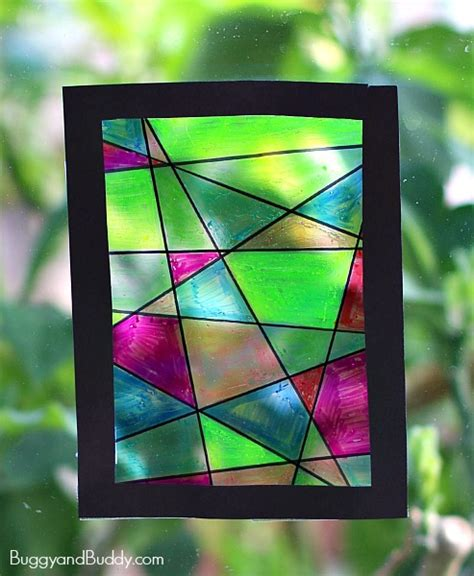 stained glass craft faux stained glass suncatcher craft for buggy and buddy