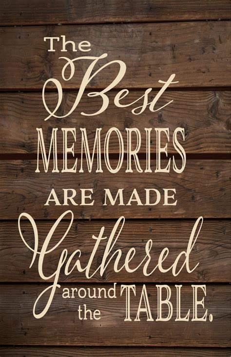 around the table the best memories are made around the table wood sign or