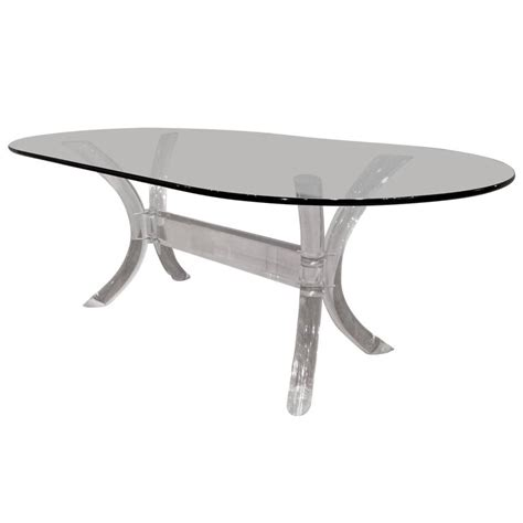 oval glass top dining table lucite dining table with oval glass top by charles