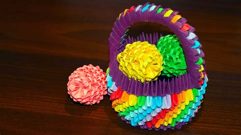3d origami basket tutorial 3d origami easter egg to the basket of paper tutorial