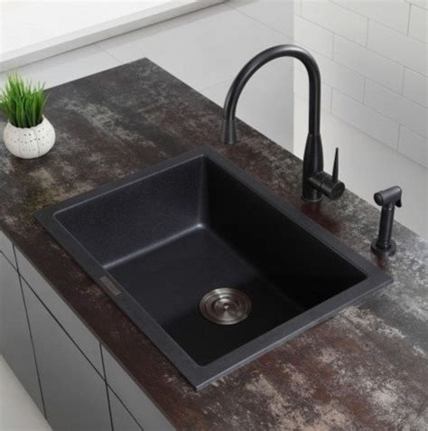 kitchen sinks black kraus 24 2 5 inch dual mount single bowl black onyx