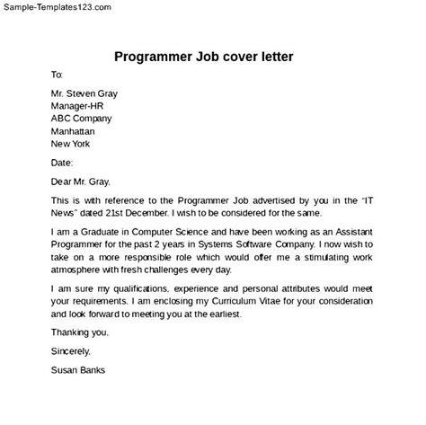 programmer job cover letter example sample templates