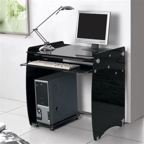 small computer desk black large 1m black glass computer desk workstation boxey ebay