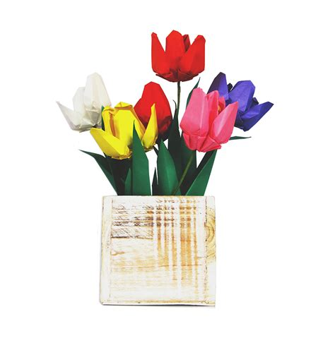 origami gift set premium origami tulip gift set with wooden vase
