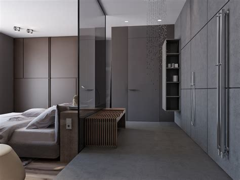 bathroom in bedroom ideas two apartments with sleek grayscale interiors