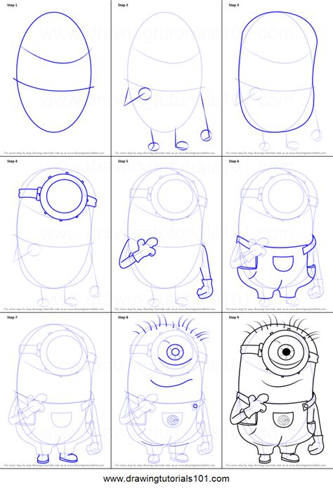 how to draw step by step how to draw stuart from minions printable step by step