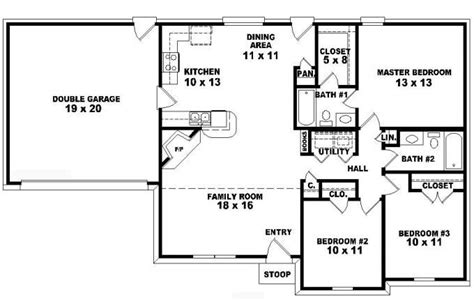 3 bed 2 bath house plans 2 bedroom one story house plans home deco plans