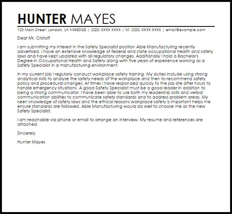 safety specialist cover letter sample livecareer