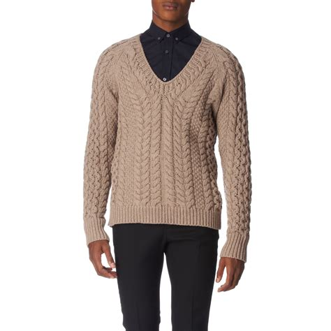beige cable knit jumper burberry prorsum cable knit jumper in beige for lyst