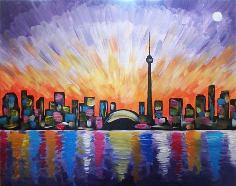 paint nite contact paint nite vibrant toronto skyline more than a buzz