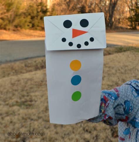 paper bag snowman craft paper bag snowman puppet about a