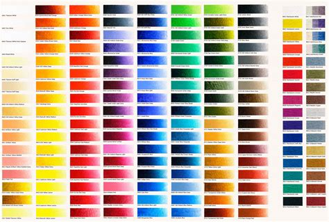 acrylic paint color chart new masters classic acrylics farbkarten