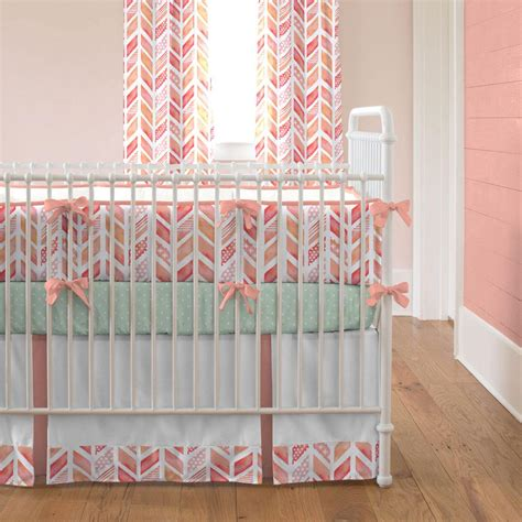 coral crib bedding sets coral watercolor herringbone crib bedding carousel designs