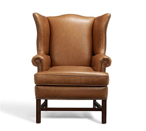 Wingback Chair by Thatcher Leather Wingback Chair Pottery Barn