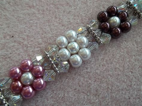 bead weaver pearl flower bracelet pdf bead weaving pattern tutorial