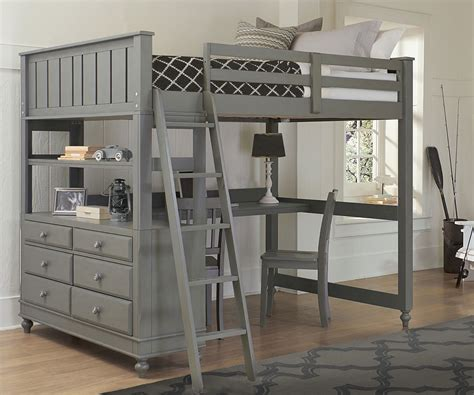 bunk style beds 2045 size loft bed with desk lakehouse collection
