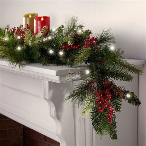 cordless outdoor garland cordless led pre lit garland at brookstone buy now
