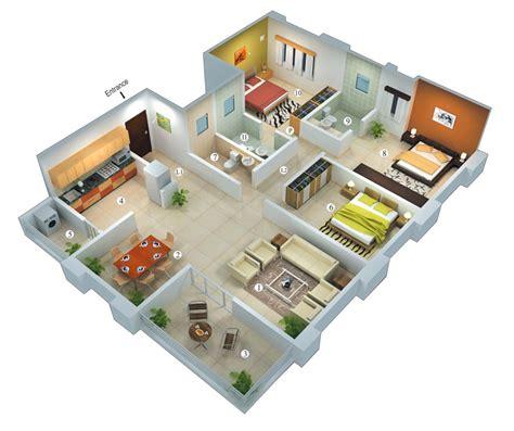 3 bedroom house design 25 more 3 bedroom 3d floor plans